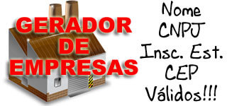 Gerador de documentos de empresas (Nome, CNPJ, Inscrição Estadual, CEP)